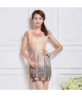Elegant Classic Lace Pink Dress 3011-20  雅韻粉色刺繡蕾絲短裙