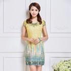 Elegant Classic Lace Yellow Dress 3011-40 雅韻黃色刺繡蕾絲短裙