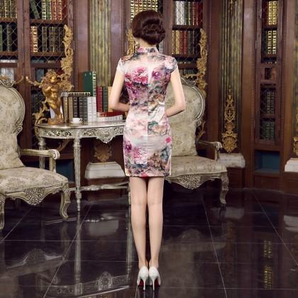 Suzhou Elegant Silk Orchid Qipao 2093-21 蘇州飄逸絲綢淡粉短旗袍