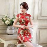 Elegant Satin Red Qipao 2094-28 蘇州綢緞紅色短旗袍 (Size XXL)