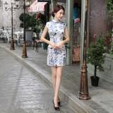 Elegant Satin Light Blue Qipao 2095-72 (Size XL)