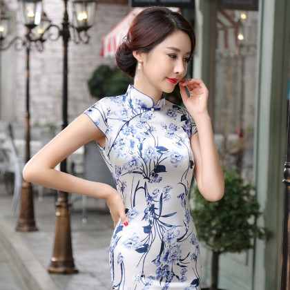 Elegant Satin Light Blue Qipao 2095-72 (Size XL)