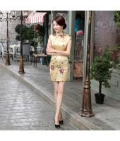 Elegant Satin Yellow Qipao 2096-40 蘇州綢緞黃色短旗袍