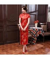 Dragon & Phoenix Brocade Red Cheongsam 1003-28 龍鳳織錦緞大紅長旗袍