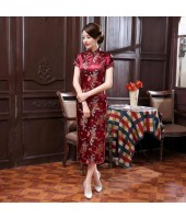 Dragon & Phoenix Brocade Purple Red Cheongsam 1003-85 龍鳳織錦緞紫紅長旗袍