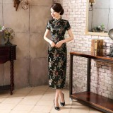 Dragon & Phoenix Brocade Black Cheongsam 1003-99 龍鳳織錦緞黑色長旗袍
