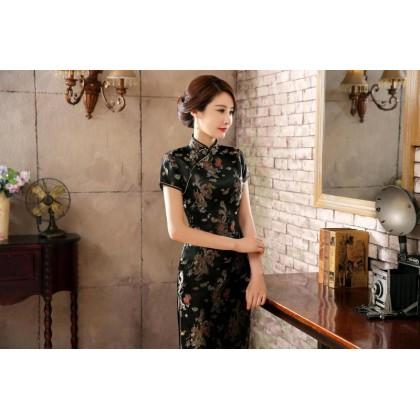 Dragon & Phoenix Brocade Black Cheongsam 1003-99 龍鳳織錦緞黑色長旗袍