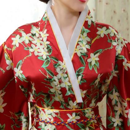 Elegant Red Satin Kimono 50001-28 典雅綢緞紅色和服