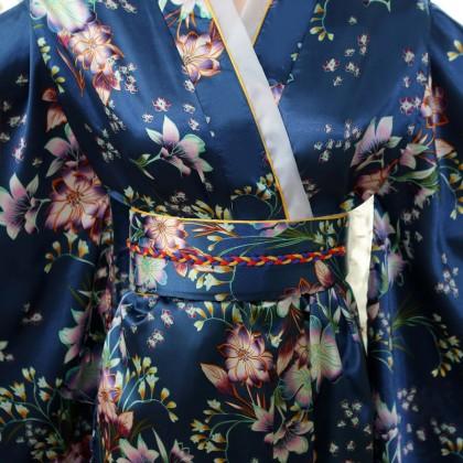 Elegant Sapphire Satin Kimono 50002-73 典雅綢緞寶藍和服