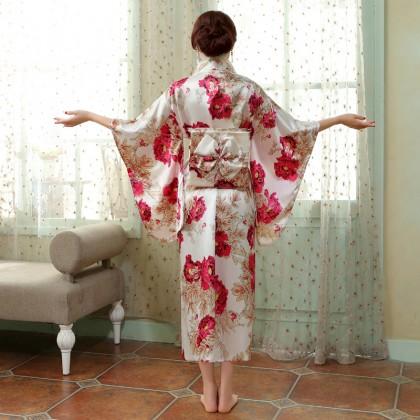 Elegant Pink Satin Kimono 50003-20 典雅綢緞粉色和服