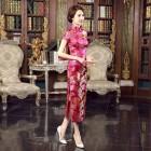 Peony Brocade Crimson Cheongsam 1014-27 牡丹織錦緞枚紅長旗袍