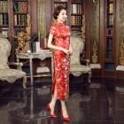 Peony Brocade Red Cheongsam 1014-28 牡丹織錦緞大紅長旗袍