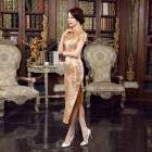 Elegant Brocade Golden Cheongsam 1015-48 韻味織錦緞金色長旗袍