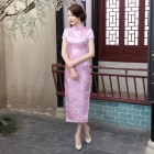 Jiangnan Brocade Pink Cheongsam 1016-20 江南織錦緞粉色長旗袍