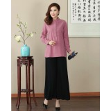 Missuya Women Cotton-Linen Long Sleeves Dark Pink Mandarin Blouse 4013-23