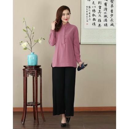 Missuya Women Cotton-Linen Long Sleeves Dark Pink Mandarin Blouse 4013-23
