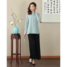 Missuya Women Cotton-Linen Long Sleeves Light Green Mandarin Blouse 4013-52