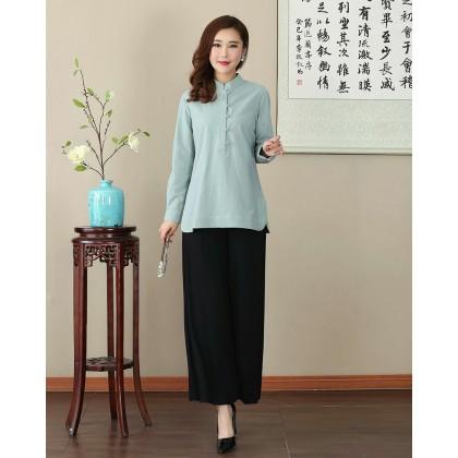 Missuya Women Cotton-Linen Long Sleeves Light Green Mandarin Blouse 4013-52