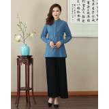 Missuya Women Cotton-Linen Long Sleeves Blue Mandarin Blouse 4013-70