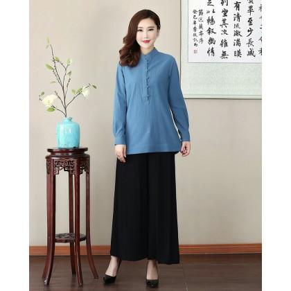 Missuya Women Cotton-Linen Long Sleeves Blue Mandarin Blouse 4013-70