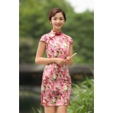 Missuya Jacquard Cotton Pink Sakura Qipao 2097-20 杭州提花棉樱花粉旗袍