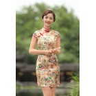 Missuya Jacquard Cotton Yellow Rose Qipao 2097-40 杭州提花棉黄色玫瑰旗袍