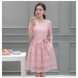 Korean Long-sleeved Lace Pink Dress 3012-20