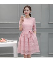 Korean Long-sleeved Lace Pink Dress 3012-20