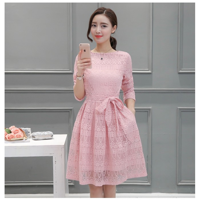 f466cf6ab02 Korean Long-sleeved Lace Pink Dress 3012-20