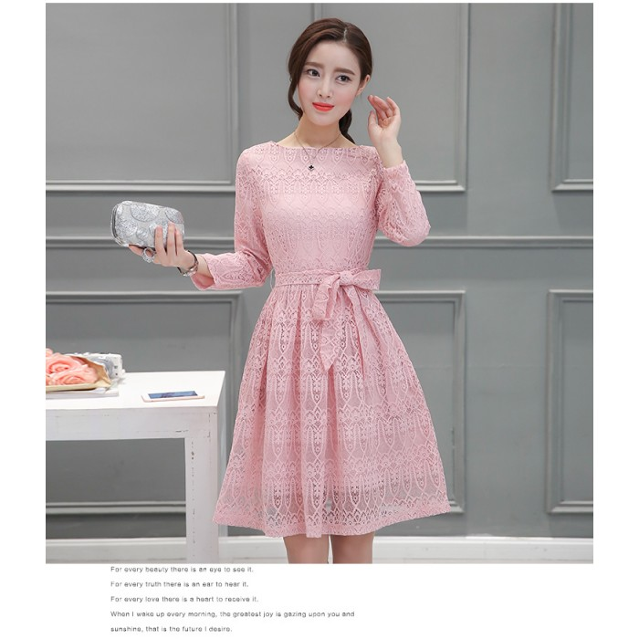 e123a8bf462 ... Korean Long-sleeved Lace Pink Dress 3012-20 ...