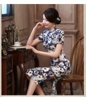 MIssuya Begonia Linen Midi Qipao 1136-70 珠江海棠亞麻中長旗袍