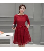 Korean Long-sleeved Lace Red Dress 3012-28
