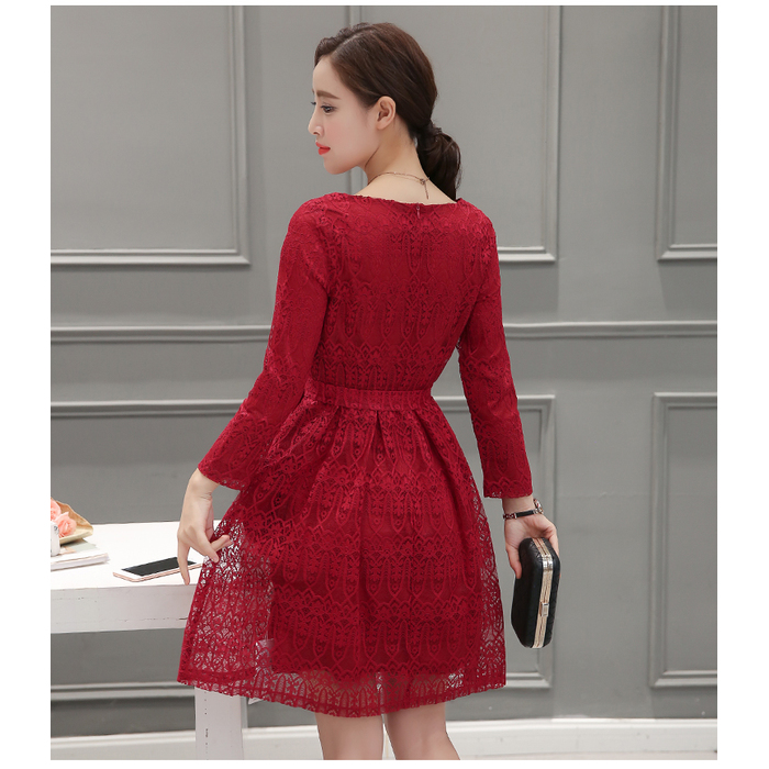 fd8c29b93e0 ... Korean Long-sleeved Lace Red Dress 3012-28 ...