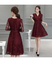 Korean Graceful Long-sleeved V-Neck Maroon Lace Midi Dress 3013-29