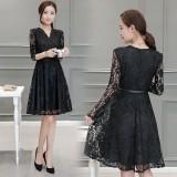 Korean Graceful Long-sleeved V-Neck Black Lace Midi Dress 3013-99