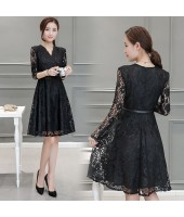Korean Graceful Long-sleeved V-Neck Black Lace Midi Dress 3013-99
