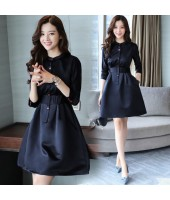 K-Fashion Mid-Sleeved OL Navy Viscose Elegant Midi Dress 3014-76