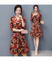 K-Fashion Style Polyester Print 3/4 sleeved Orange Midi Dress 3015-30
