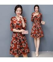 K-Fashion Style Polyester Print 3/4 sleeved Orange Midi Dress 3015-30