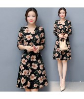K-Fashion Style Polyester Print 3/4 sleeved Black Midi Dress 3015-99