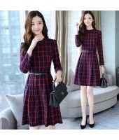 Korean Elegant Plaid Long-Sleeved Red Midi Dress 3016-28