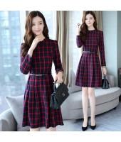 Korean Elegant Plaid Long-Sleeved Red Midi Dress 3016-28