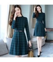 Korean Elegant Plaid Long-Sleeved Green Midi Dress 3016-30