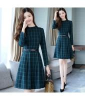 Korean Elegant Plaid Long-Sleeved Green Midi Dress 3016-30