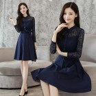 K-Fashion Long-sleeved Navy Lace Midi Dress 3017-76