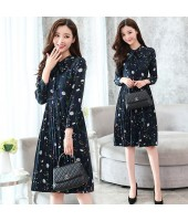 Korean Style Floral Print Long-sleeved Chiffon Midi Dress 3018-76