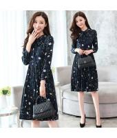 Korean Style Floral Print Long-sleeved Chiffon Midi Dress 3018-76