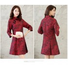Mid Sleeves Embroidery Red Chinese Dress 3010-28 七分袖刺綉紅中式連衣裙