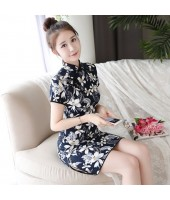 Dark Blue Leaves Linen-Cotton Qipao 2125-76 棉麻車秋短旗袍