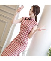 Printed Plaid Red Midi Linen Cheongsam 1137-28 格子條紋清雅紅色棉麻旗袍